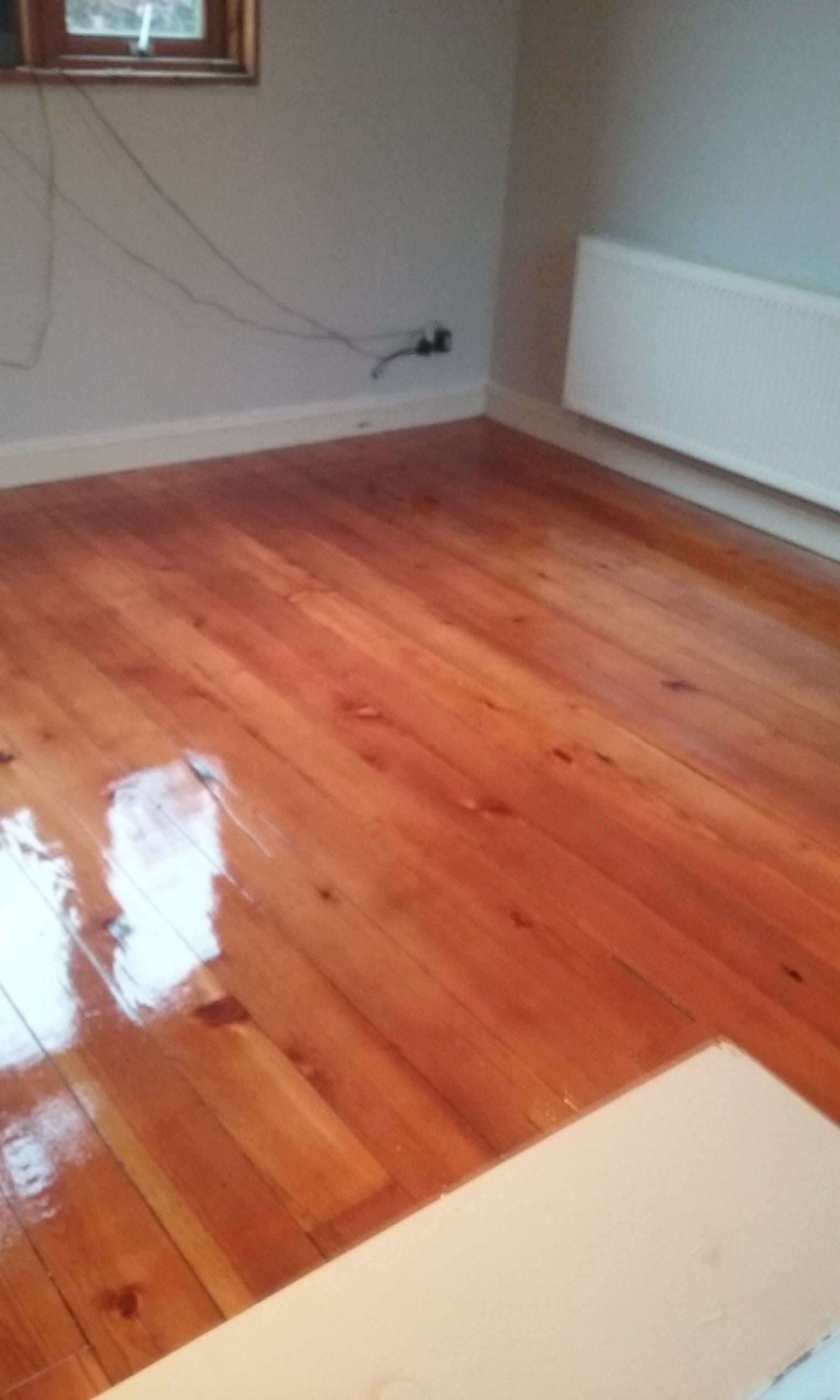 200 year old pitch pine sanded and varnish with just clear satin finish, beautiful colour