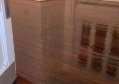 freshly varnished dark wooden floor