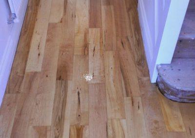 freshly varnished hallway wood floor