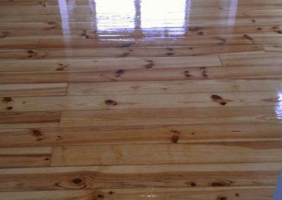freshly varnished sitting room wood floor