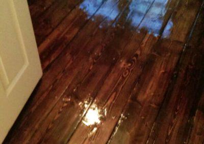 freshly varnished wood floor