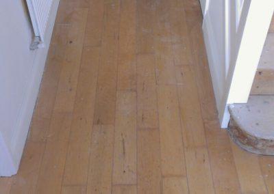 hallway wood floor sanding preparation