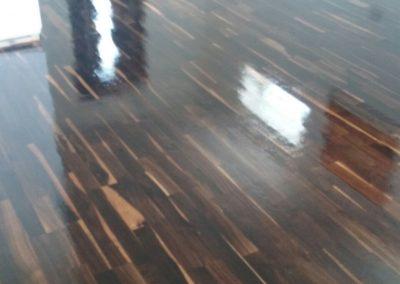 freshly varnished dark wood floor